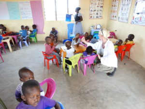 Heike Franke visiting a school in Kenya