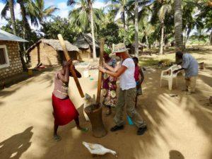 Heike Franke working with women in bush village in Kenya