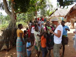 Heike Franke and some kids in bush village in Kenya